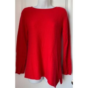 Peck & Peck Red Asymmetrical Cashmere Sweater